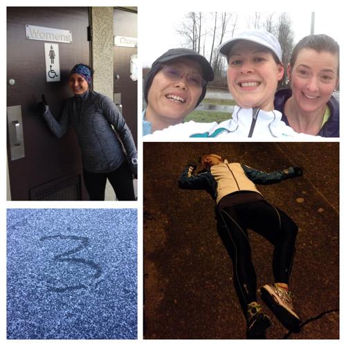 Four runs (clockwise): I have to pee!; splish splash; death by hills; SNOW... sort of.