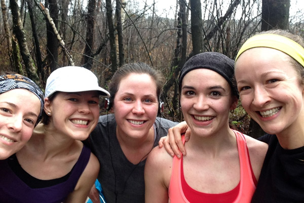 A mid run stripping of the layers. All struggling. All smiling. LOVE THESE GIRLS!!!
